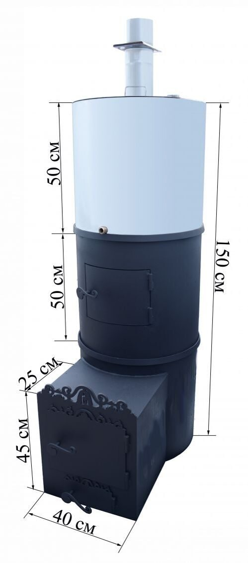 Вертикальная банная печь из трубы 530 чертежи